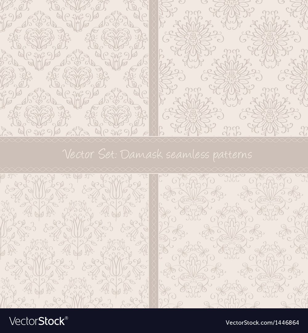 Damask floral textile light creamy pattern vector | Price: 1 Credit (USD $1)