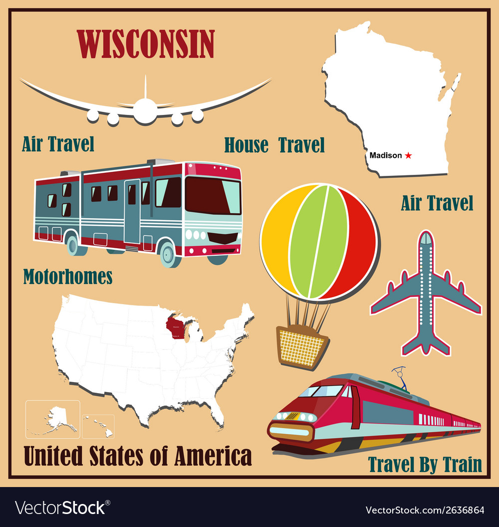 Flat map of wisconsin vector | Price: 1 Credit (USD $1)
