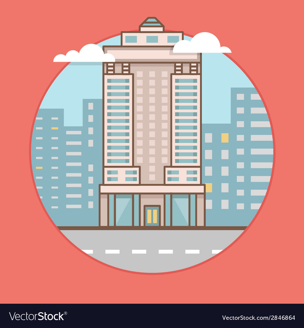 Flat of city skyscraper vector | Price: 1 Credit (USD $1)