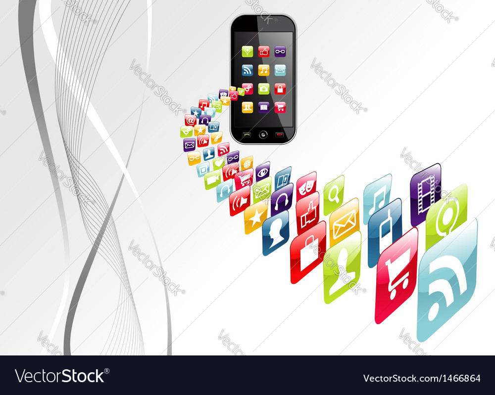 Global iphone apps icons tech background vector | Price: 1 Credit (USD $1)