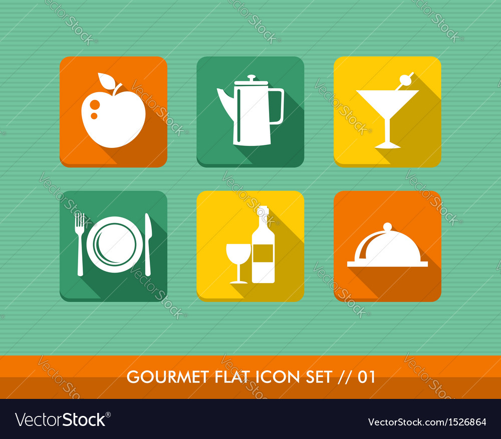 Gourmet menu flat icons set vector | Price: 1 Credit (USD $1)
