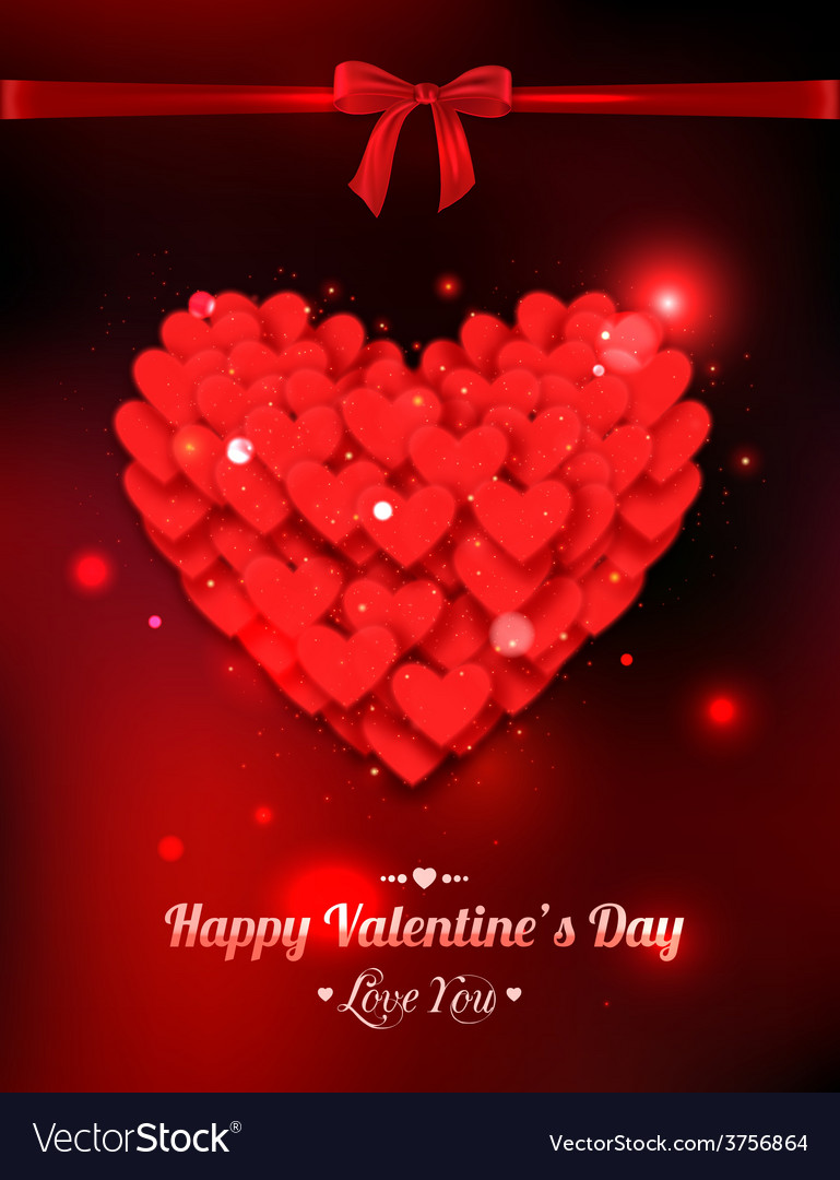 Happy valentines day typographical glow holiday vector | Price: 1 Credit (USD $1)