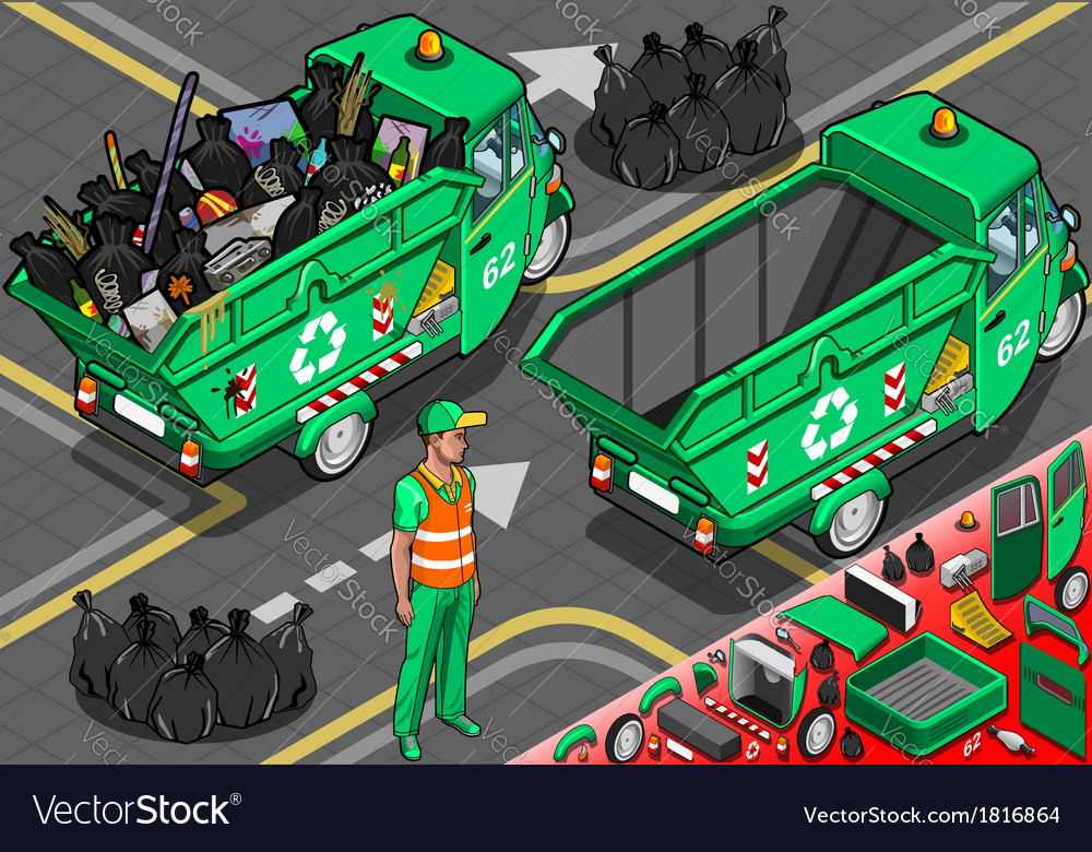 Isometric garbage rickshaw in rear view vector | Price: 1 Credit (USD $1)