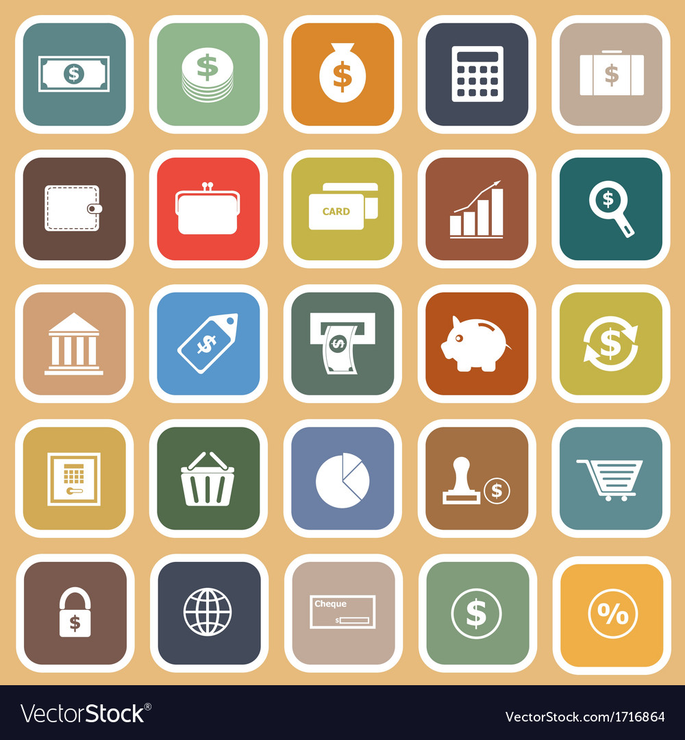 Money flat icons on orange background vector | Price: 1 Credit (USD $1)
