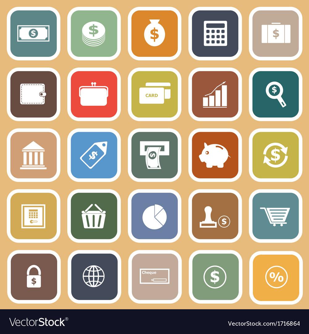 Money flat icons on orange background vector | Price: 1 Credit (USD $1)