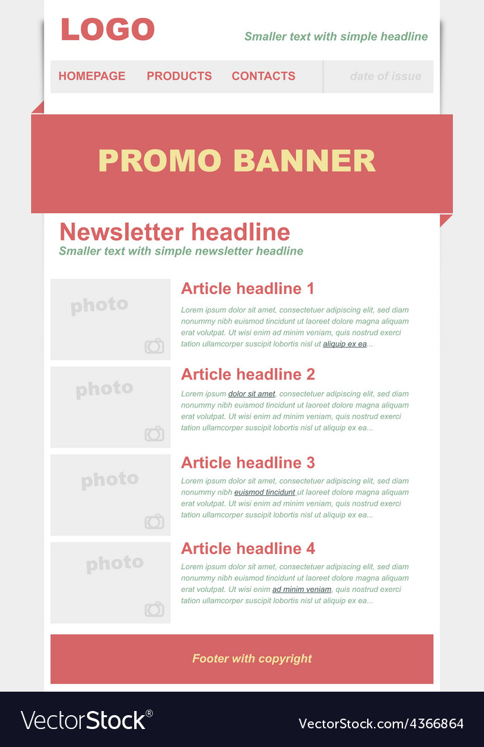 Newsletter red template vector | Price: 1 Credit (USD $1)
