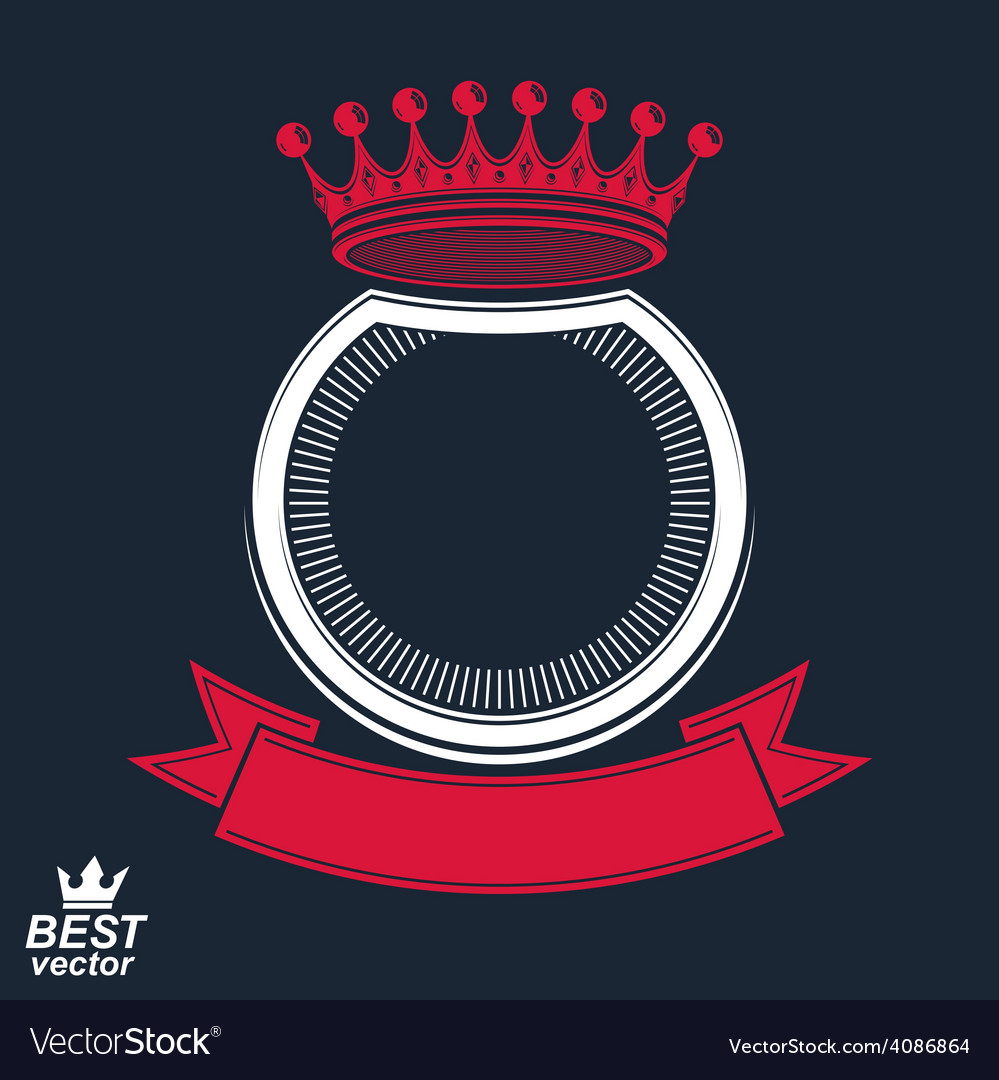Ring with 3d imperial crown and festive ribbon vector | Price: 1 Credit (USD $1)