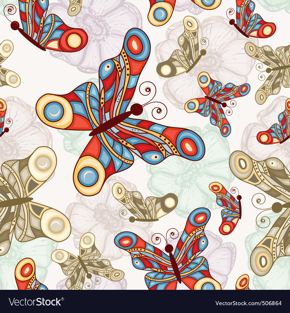 seamless background with abstract flowers a vector | Price: 1 Credit (USD $1)