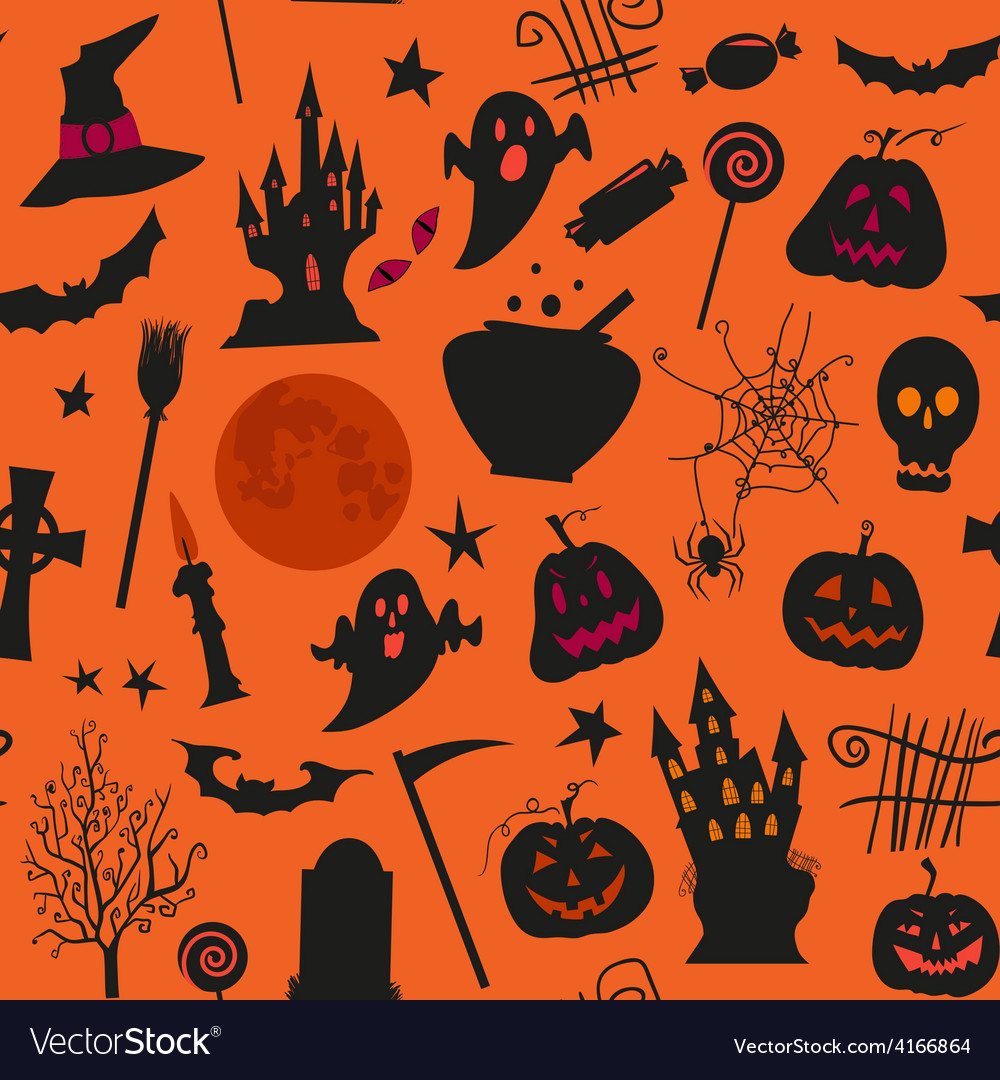 Seamless halloween pattern with castles candles vector | Price: 1 Credit (USD $1)