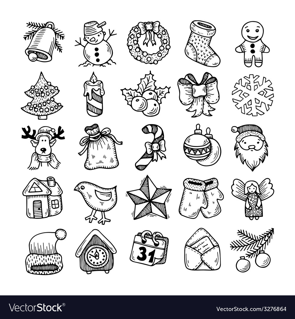 Sketch drawing christmas doodle icons vector | Price: 1 Credit (USD $1)