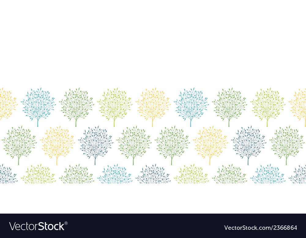 Summer trees colorful horizontal seamless pattern vector | Price: 1 Credit (USD $1)