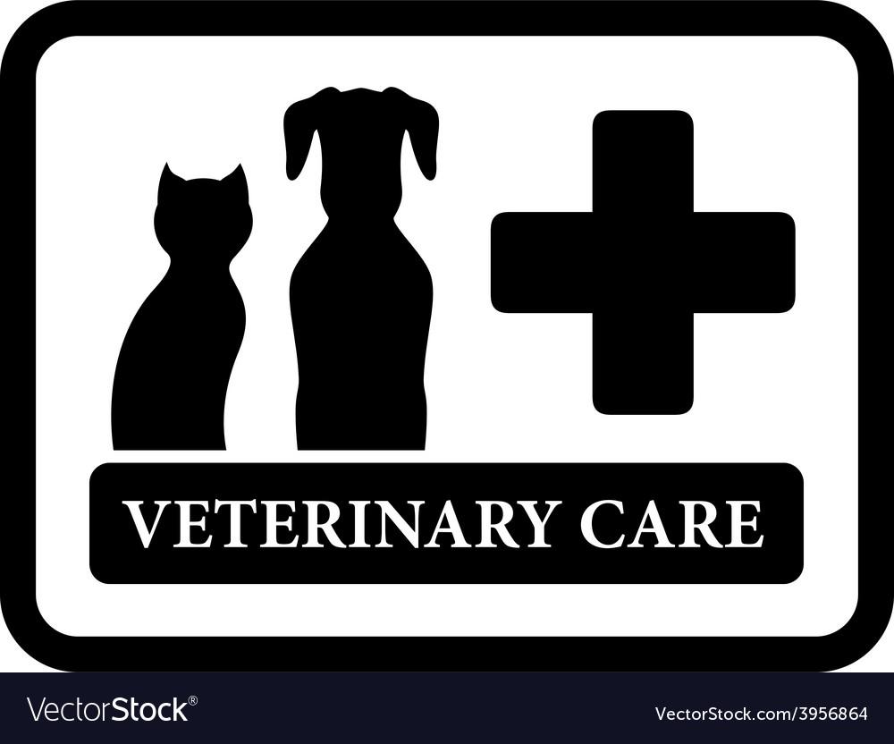 Veterinary care icon on black frame vector | Price: 1 Credit (USD $1)