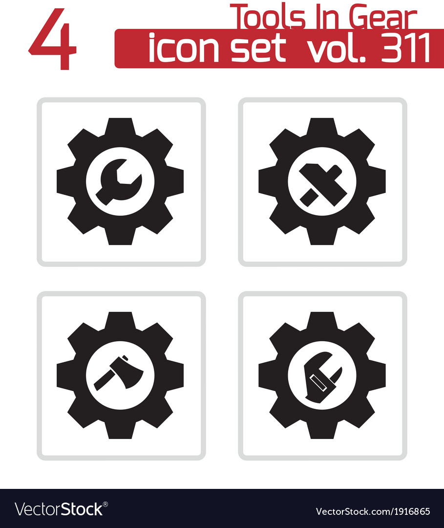 Black tools in gear icons set vector | Price: 1 Credit (USD $1)