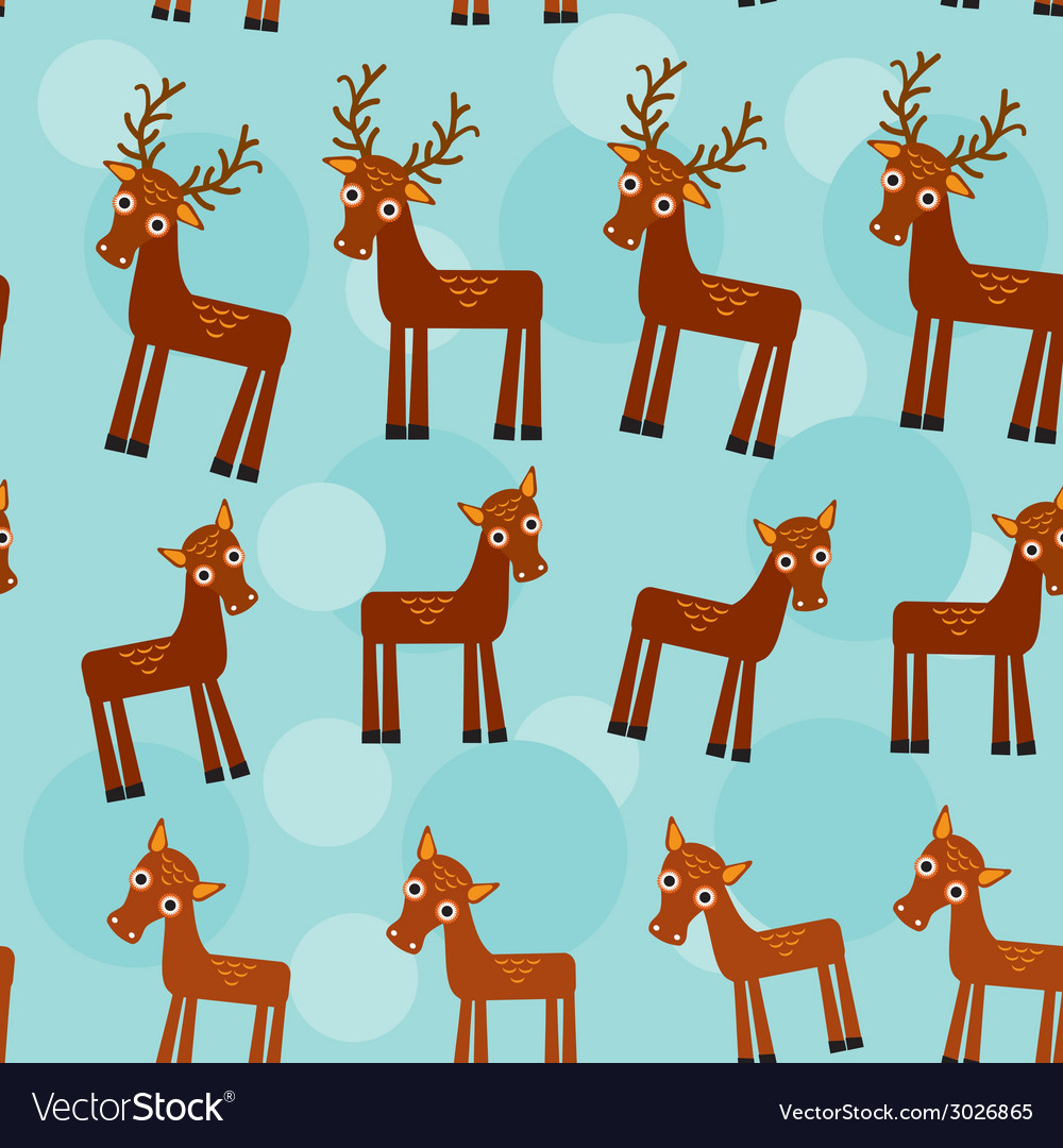 Deer set of funny animals seamless pattern on a vector   Price: 1 Credit (USD $1)