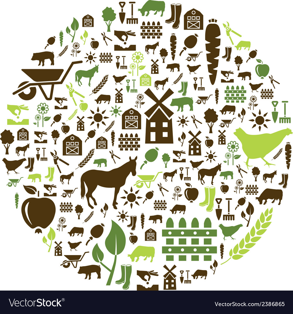 Farm icons in circle vector | Price: 1 Credit (USD $1)