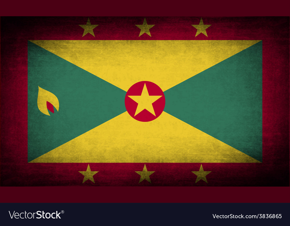 Flag of grenada with old texture vector | Price: 1 Credit (USD $1)