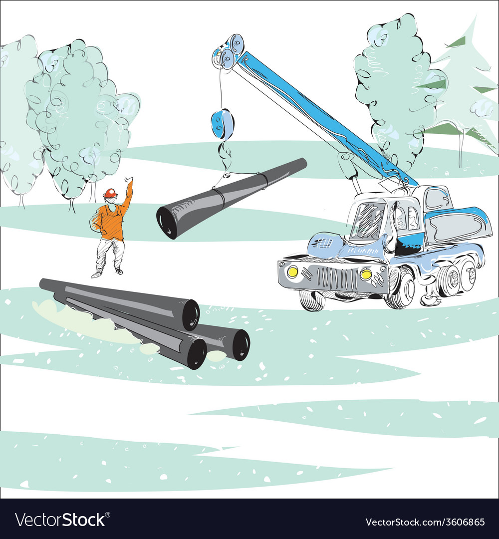 Gas pipe winter scene vector | Price: 1 Credit (USD $1)