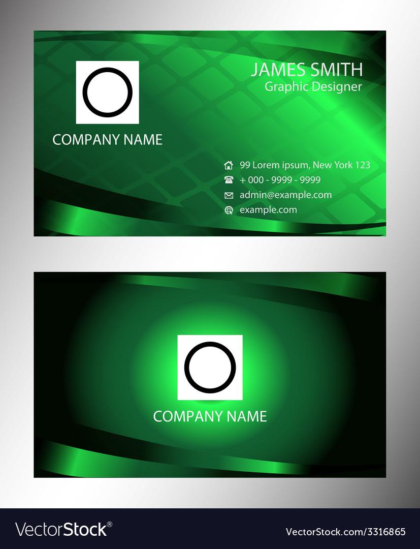 Green modern business card template vector