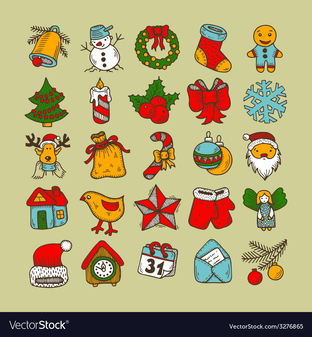 Set of sketch drawing christmas doodle icons vector | Price: 1 Credit (USD $1)
