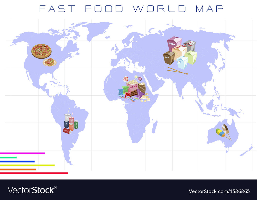 World map with fast food and take away food vector | Price: 1 Credit (USD $1)