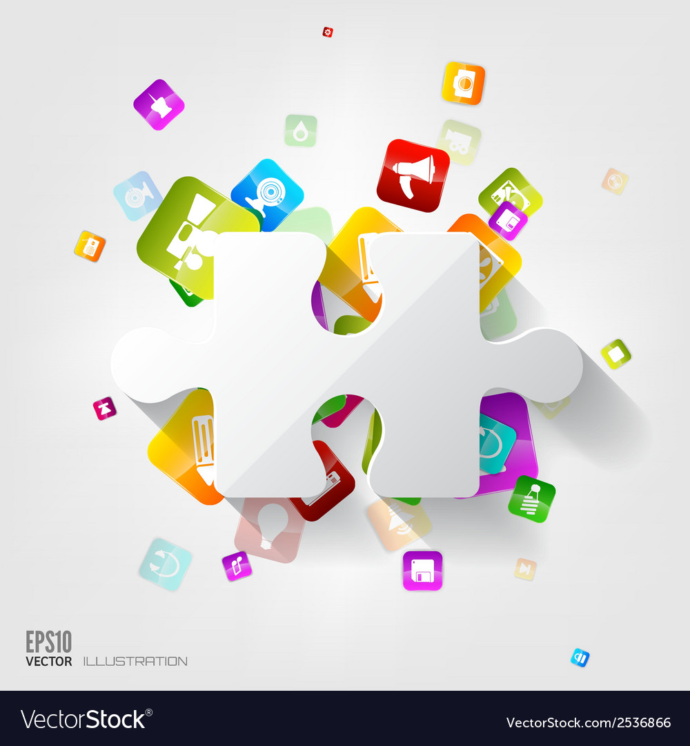 Abstract puzzle infographic cloud computing vector | Price: 1 Credit (USD $1)