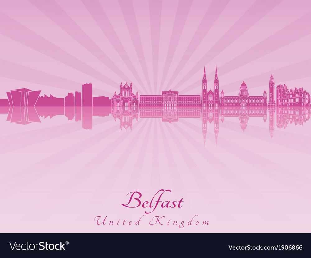 Belfast skyline in purple radiant orchid vector | Price: 1 Credit (USD $1)