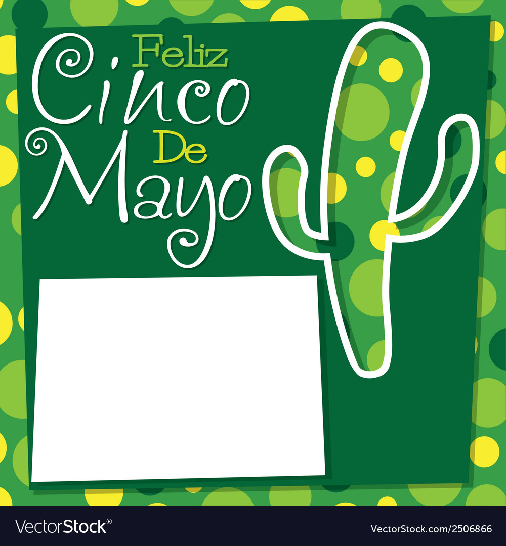 Cinco de mayo cactus card in format vector | Price: 1 Credit (USD $1)