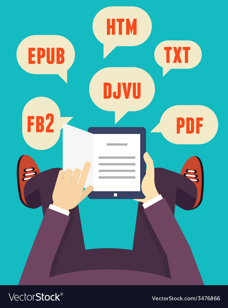 Flat mobile reader with different formats vector | Price: 1 Credit (USD $1)