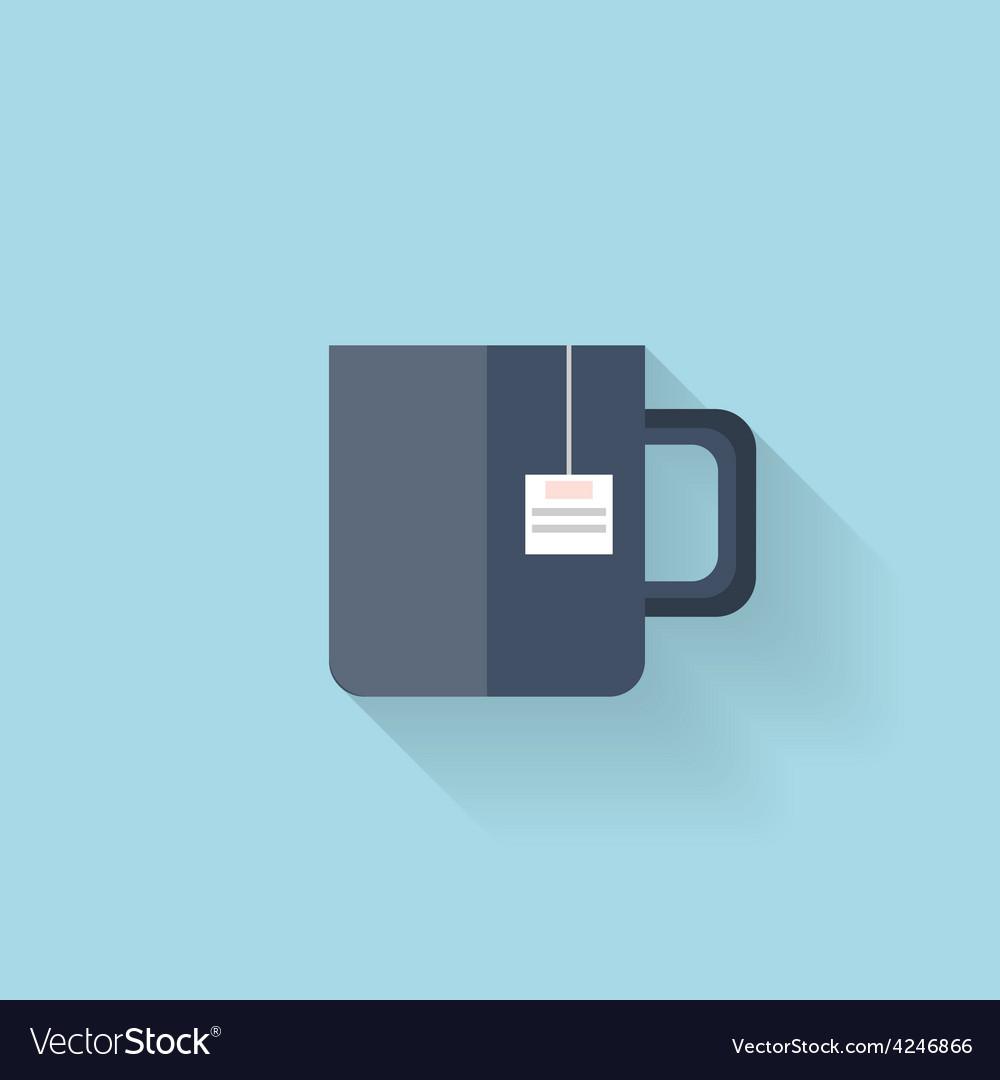 Flat web icon tea cup vector | Price: 1 Credit (USD $1)