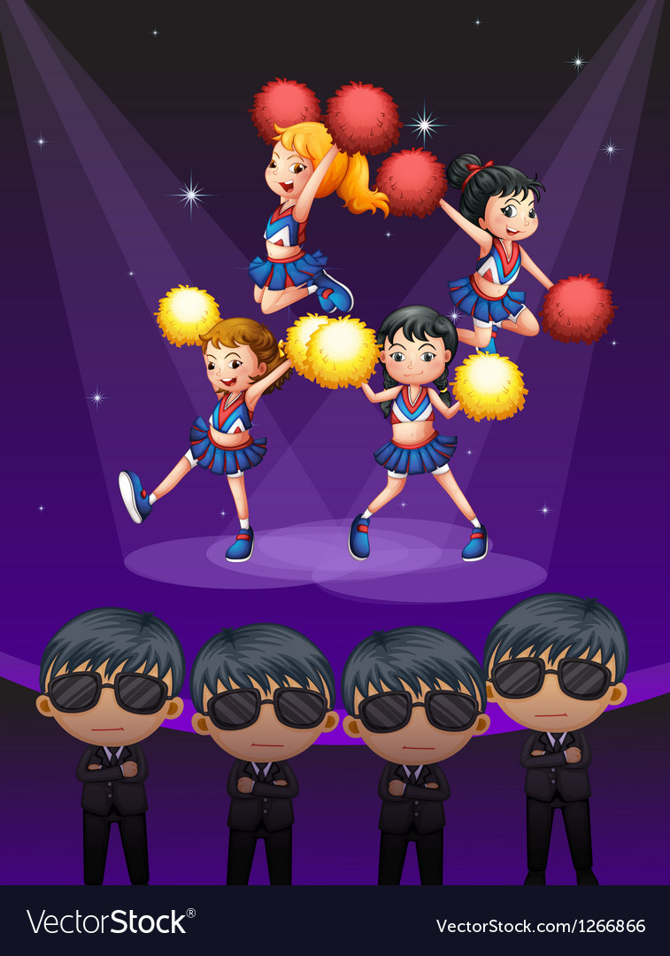 Four cheerdancers dancing with spotlights vector | Price: 1 Credit (USD $1)