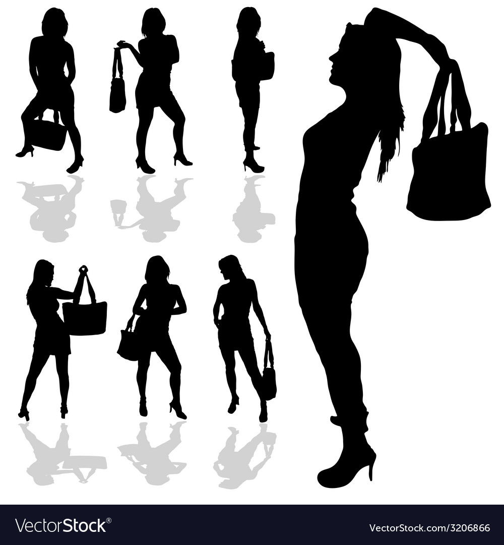 Girl with bag silhouette vector | Price: 1 Credit (USD $1)