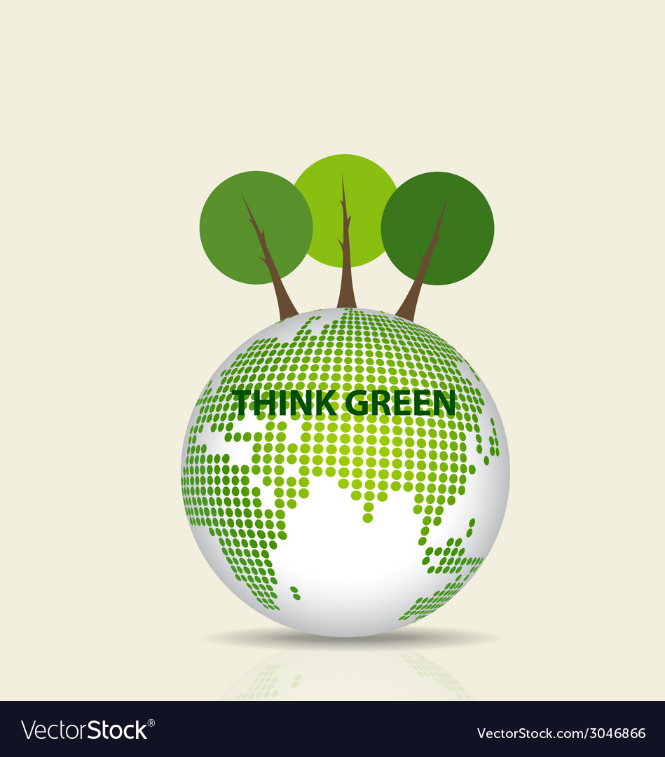 Green eco earth green earth with tree vector | Price: 1 Credit (USD $1)