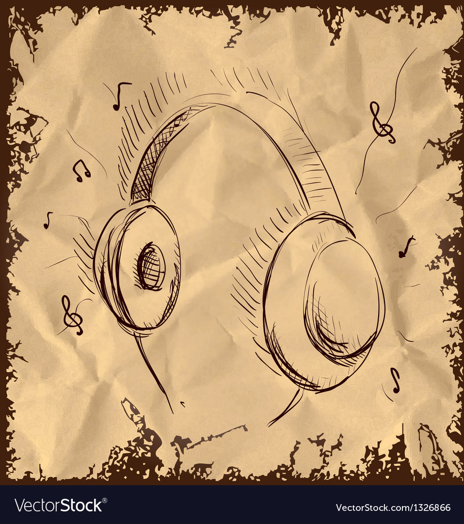 Headphones isolated on vintage background vector | Price: 1 Credit (USD $1)