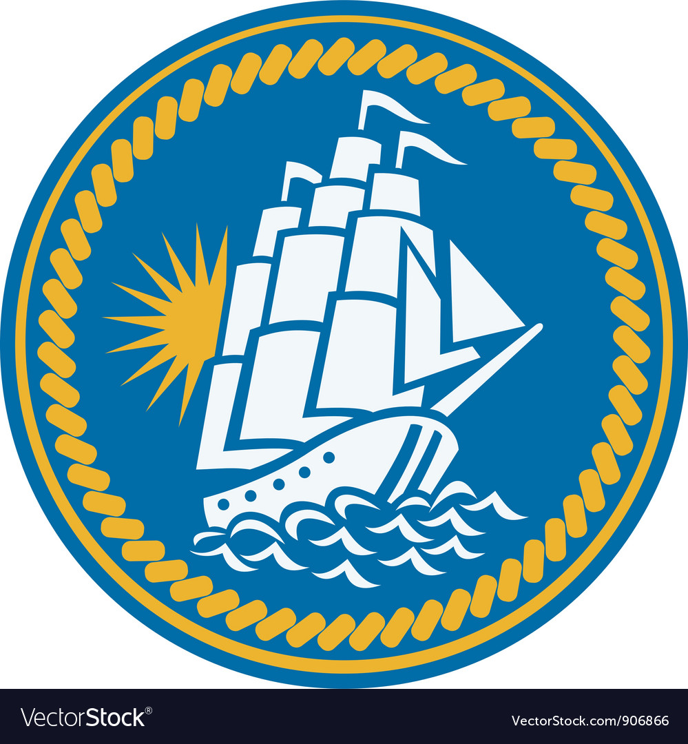 Sailing tall ship galleon retro vector | Price: 3 Credit (USD $3)