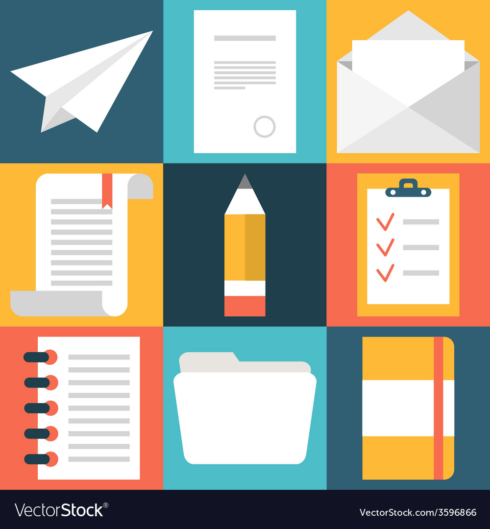Set of flat design document icons paper document vector | Price: 1 Credit (USD $1)