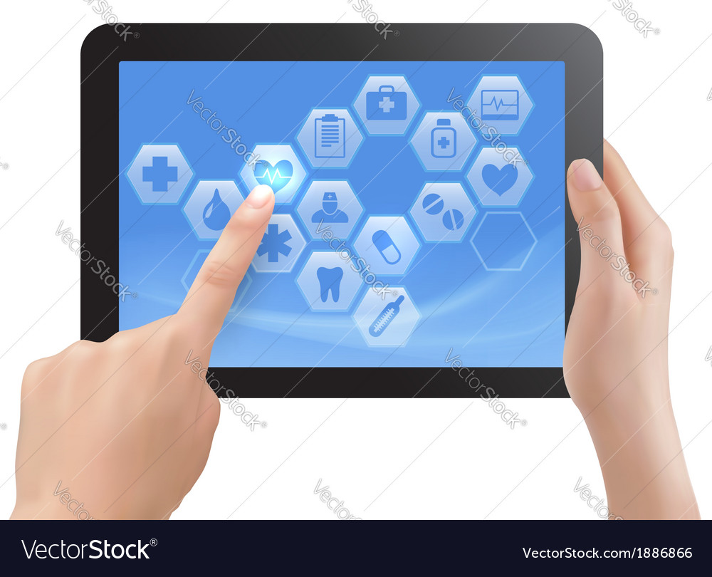 Two hands touch screen of tablet with medical vector