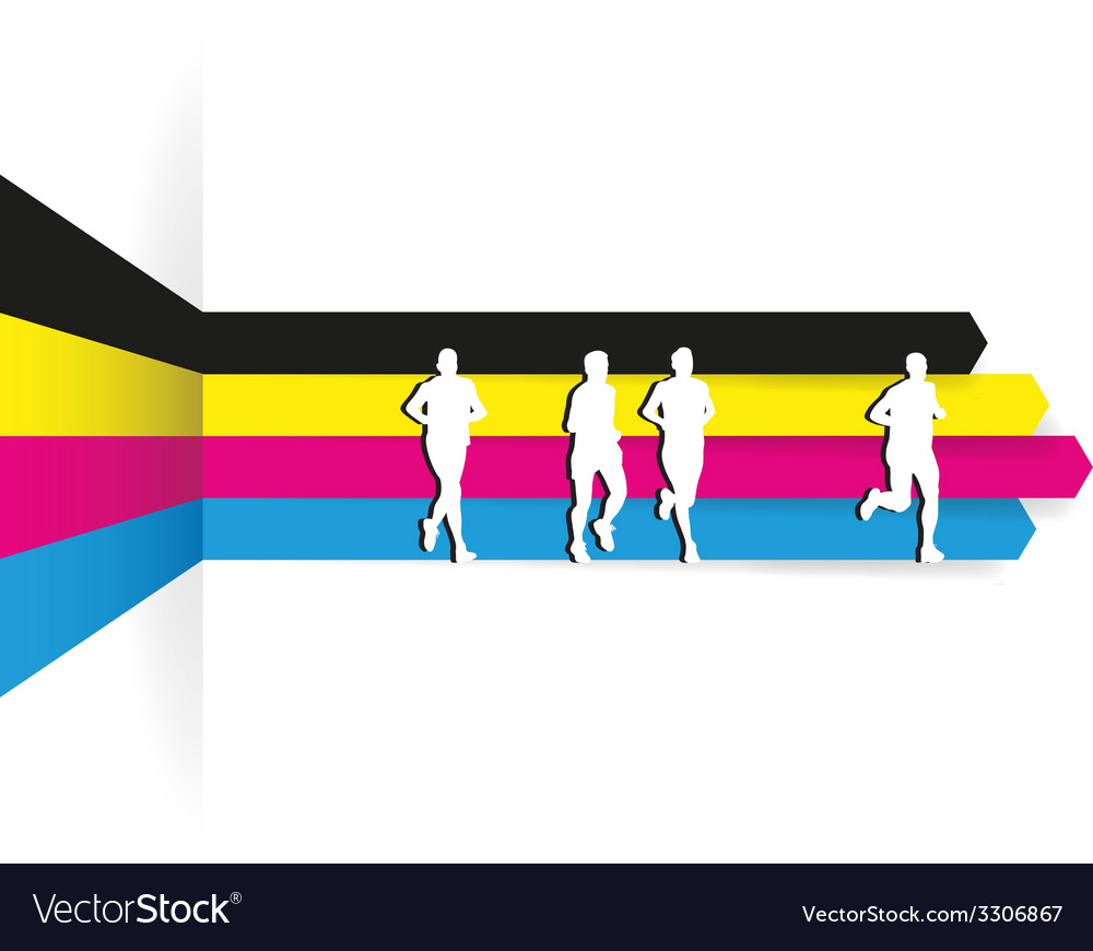 Cmyk runners vector | Price: 1 Credit (USD $1)