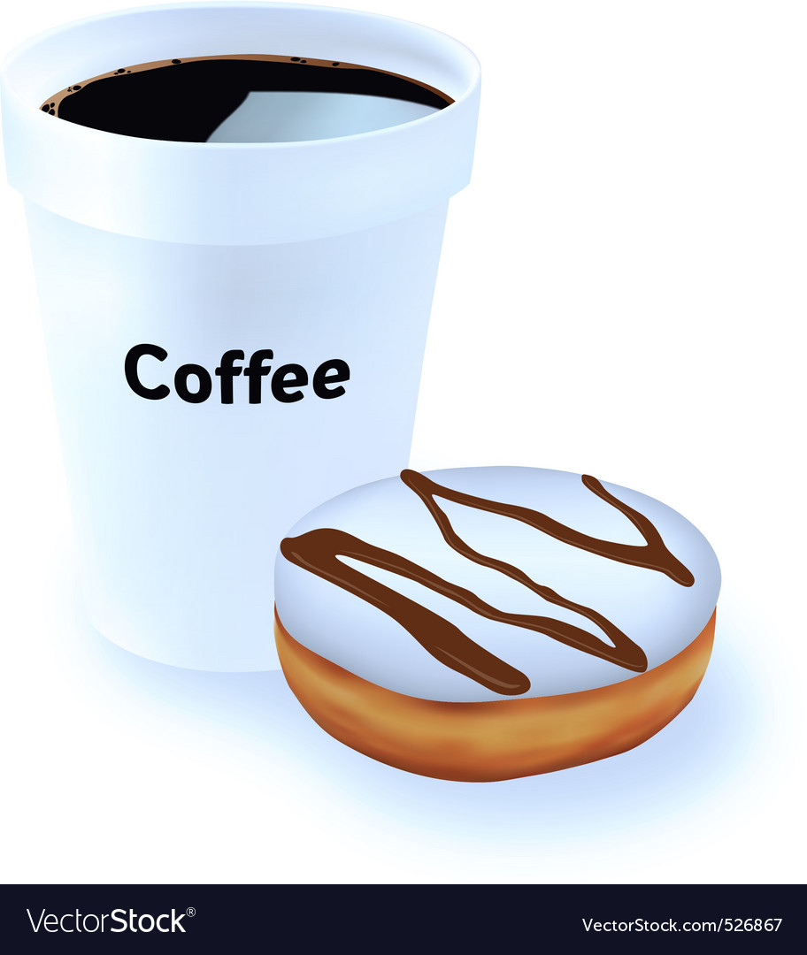 Coffee and donut vector | Price: 1 Credit (USD $1)