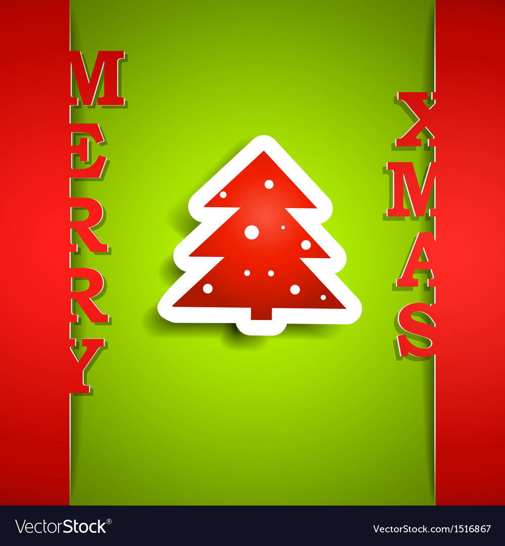 Merry xmas paper card vector | Price: 1 Credit (USD $1)