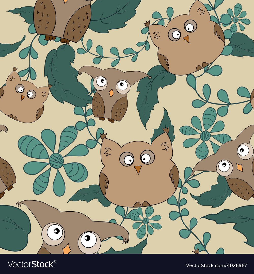 Seamless pattern with cute owls leaves vector | Price: 1 Credit (USD $1)