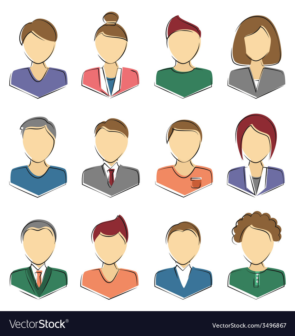 Set of business avatar office employees isolated vector | Price: 1 Credit (USD $1)