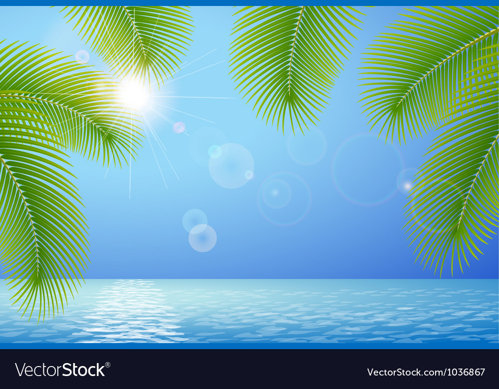 Sunny blue sky sea and palm branches vector | Price: 1 Credit (USD $1)