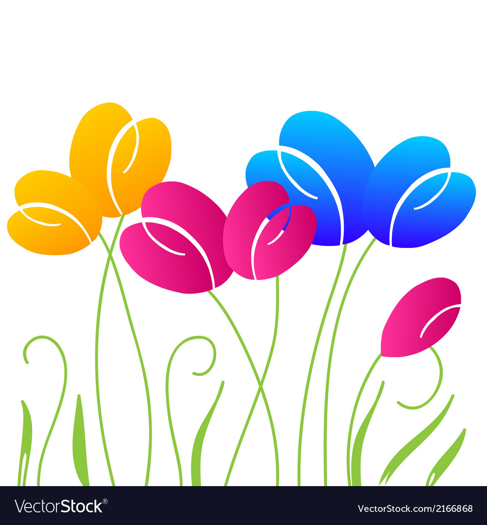 Abstract background with multicolored bright tulip vector | Price: 1 Credit (USD $1)