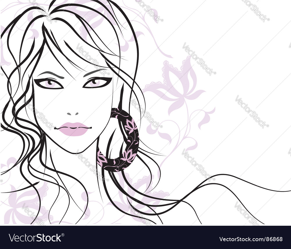 Beautiful girl with long hair vector | Price: 1 Credit (USD $1)