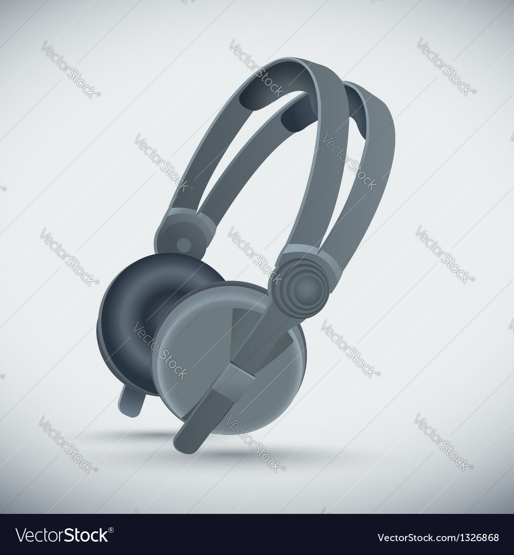 Big grey headphones vector | Price: 1 Credit (USD $1)