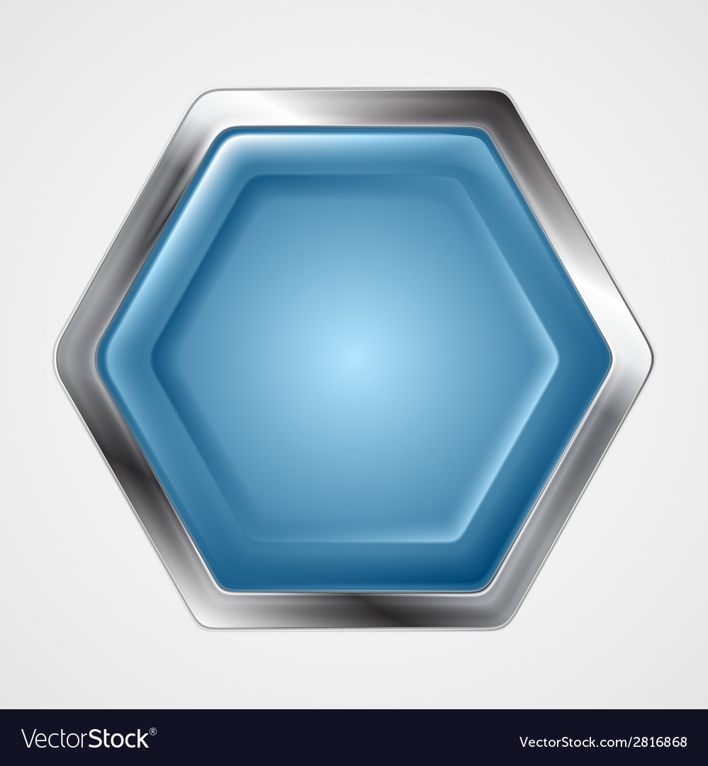 Blue and metallic hexagon shape logo vector | Price: 1 Credit (USD $1)