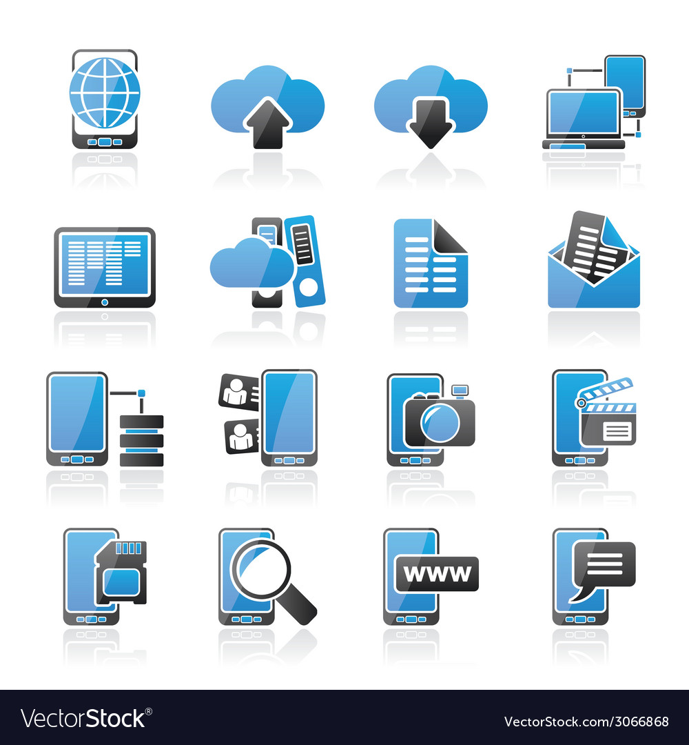 Communication and mobile phone icons vector | Price: 1 Credit (USD $1)