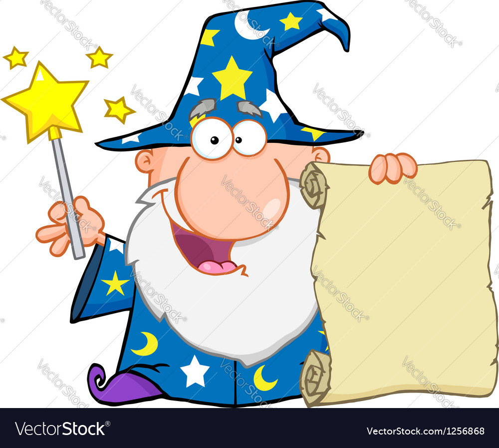 Funny wizard holding up a scroll vector | Price: 1 Credit (USD $1)