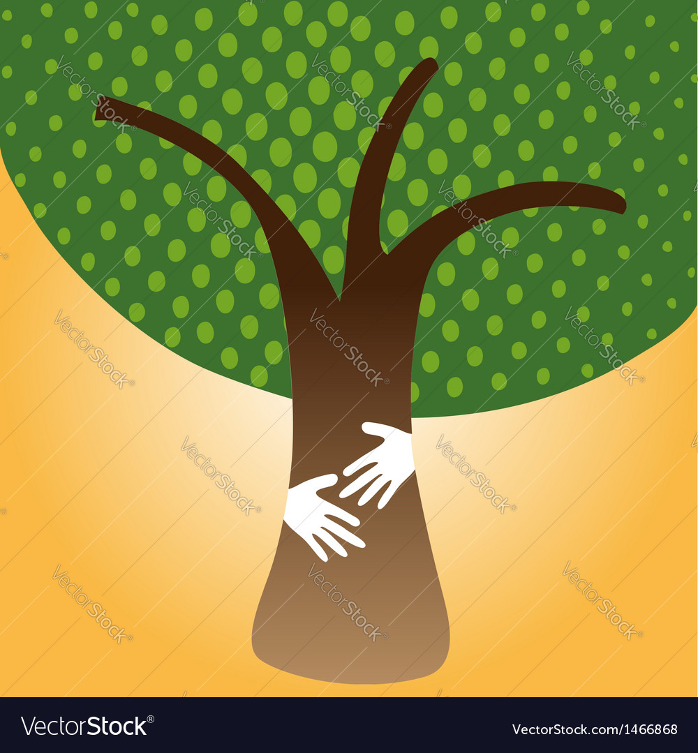 Human hug tree for nature vector | Price: 1 Credit (USD $1)