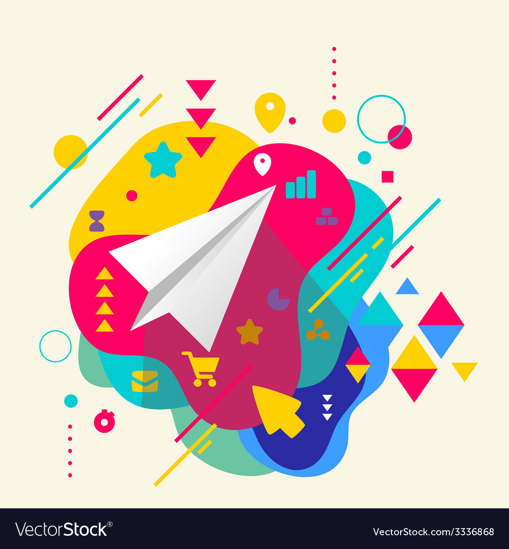 Paper airplane on abstract colorful spotted vector | Price: 3 Credit (USD $3)